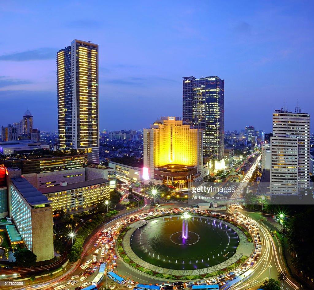Sunset In Hi Roundabout In Jakarta City Jakarta Skyline