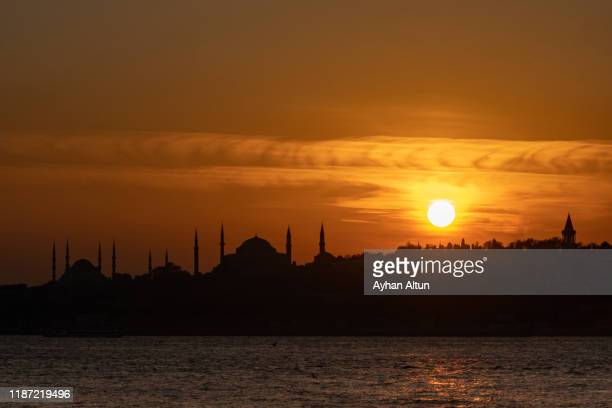 sunset in historical peninsula of istanbul,turkey - historical istanbul stock pictures, royalty-free photos & images