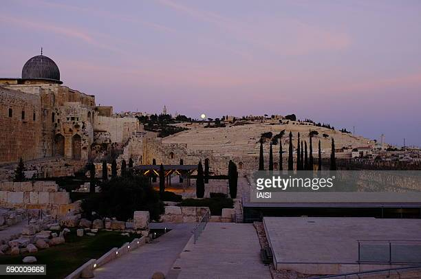 sunset in jerusalem and a full moon on the mount of olives - mount of olives stock photos and pictures