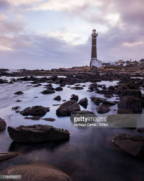 sunset in jose ignacio lighthouse - jose ignacio lighthouse stock photos and pictures