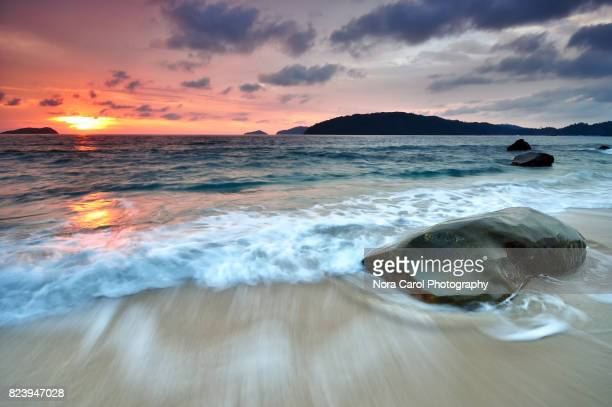 sunset in kota kinabalu beach - kota kinabalu stock pictures, royalty-free photos & images