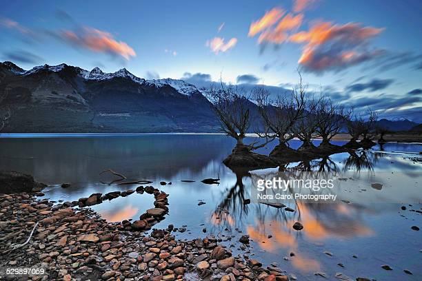 Sunset in Lake wakatipu Glenorchy Queenstown