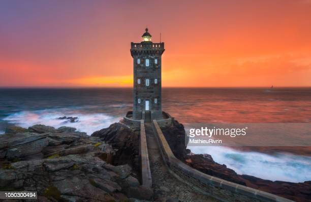 sunset in le conquet - brest brittany stock pictures, royalty-free photos & images