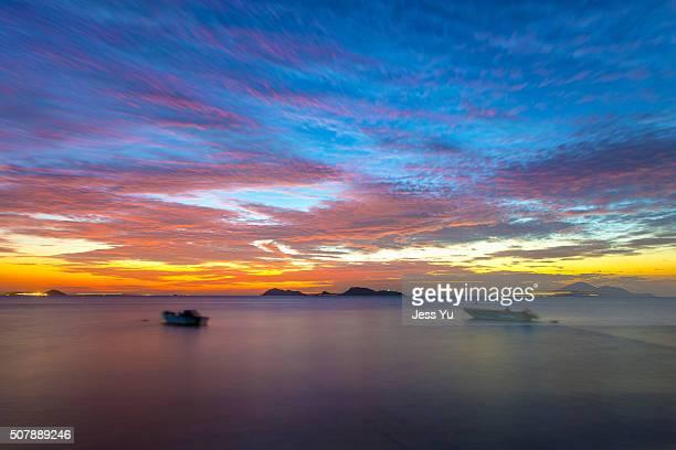 Sunset in Lung Kwu Tan in Hong Kong