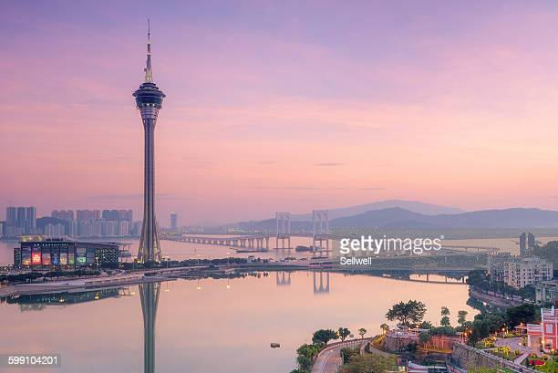 sunset in macau - macao stock pictures, royalty-free photos & images