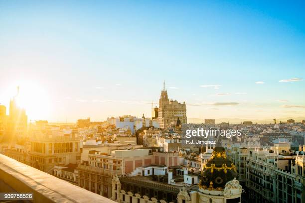 sunset in madrid - madrid stock-fotos und bilder