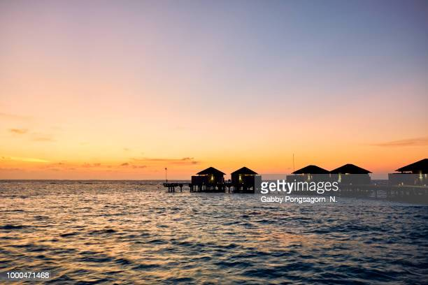 sunset in maldives - gabby allen stockfoto's en -beelden