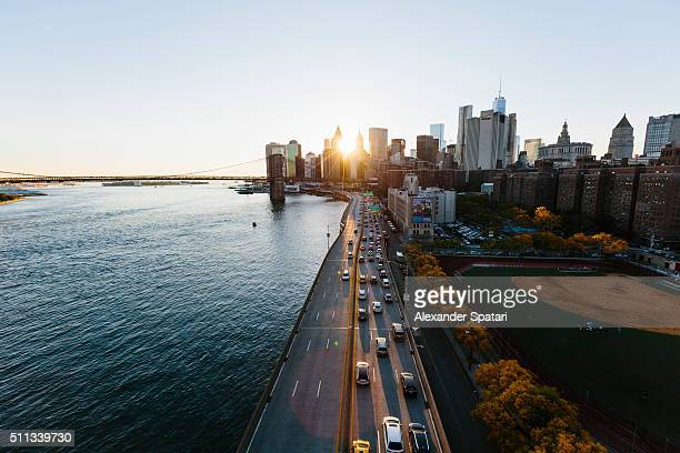 sunset in manhattan downtown, new york city, usa - north america stock pictures, royalty-free photos & images
