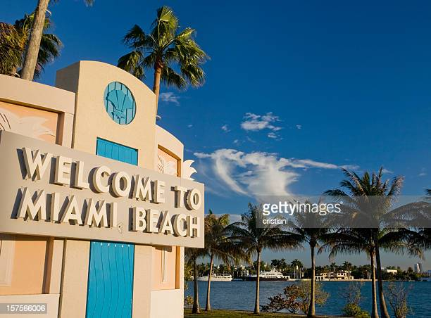 sunset in miami beach - miami beach stock pictures, royalty-free photos & images