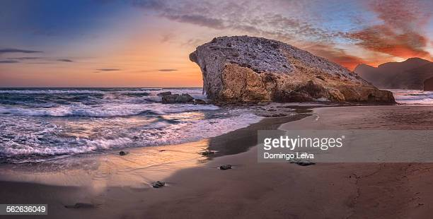 sunset in monsul beach, cabo de gata, almeria - アルメリア ストックフォトと画像