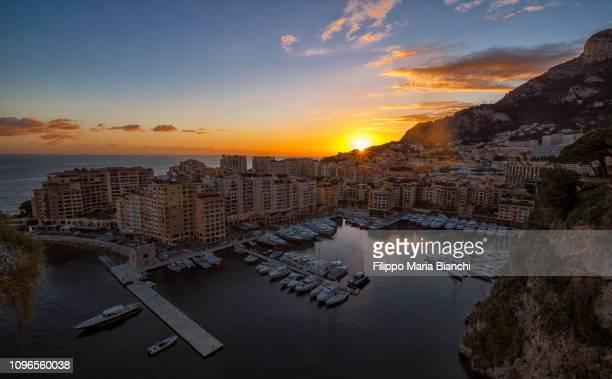 sunset in montecarlo - montecarlo foto e immagini stock