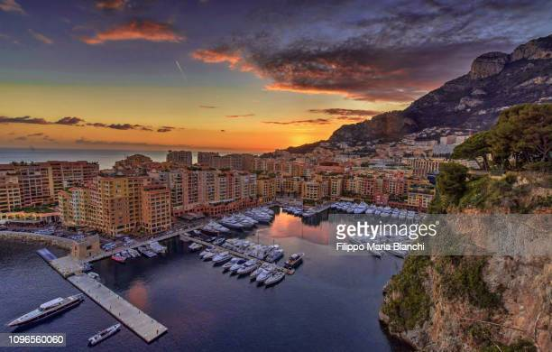sunset in montecarlo - monaco stock pictures, royalty-free photos & images