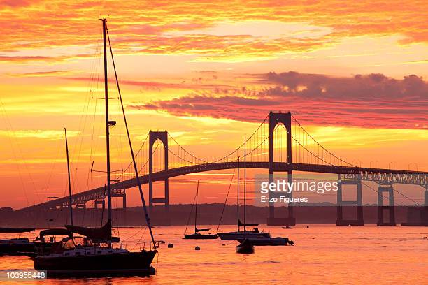 sunset in newport rhode island - newport rhode island stock pictures, royalty-free photos & images
