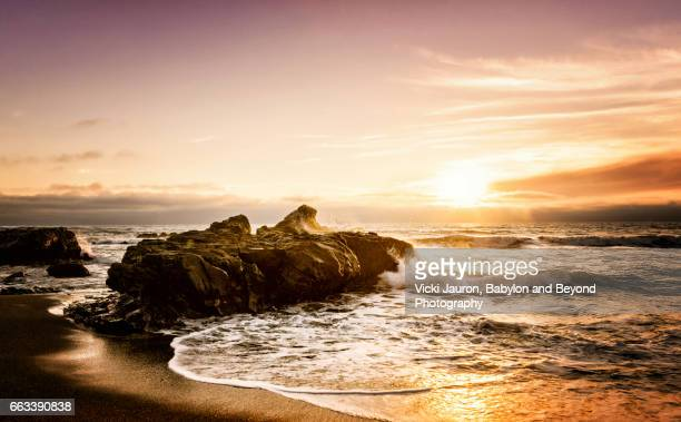 Sunset in Pink and Orange at Moonstone Beach, California