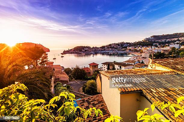 sunset in port de soller (mallorca) - majorca stock pictures, royalty-free photos & images