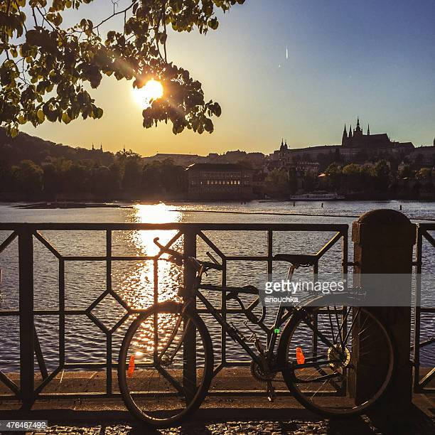sunset in prague - vltava river stock photos and pictures