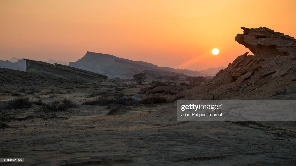 Sunset in Qeshm Island, Persian Gulf, Hormozgan Province, Southern Iran : Stock Photo