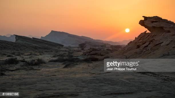sunset in qeshm island, persian gulf, hormozgan province, southern iran - persian gulf stock-fotos und bilder