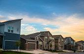 Sunset in Real Estate Suburb Neighborhood