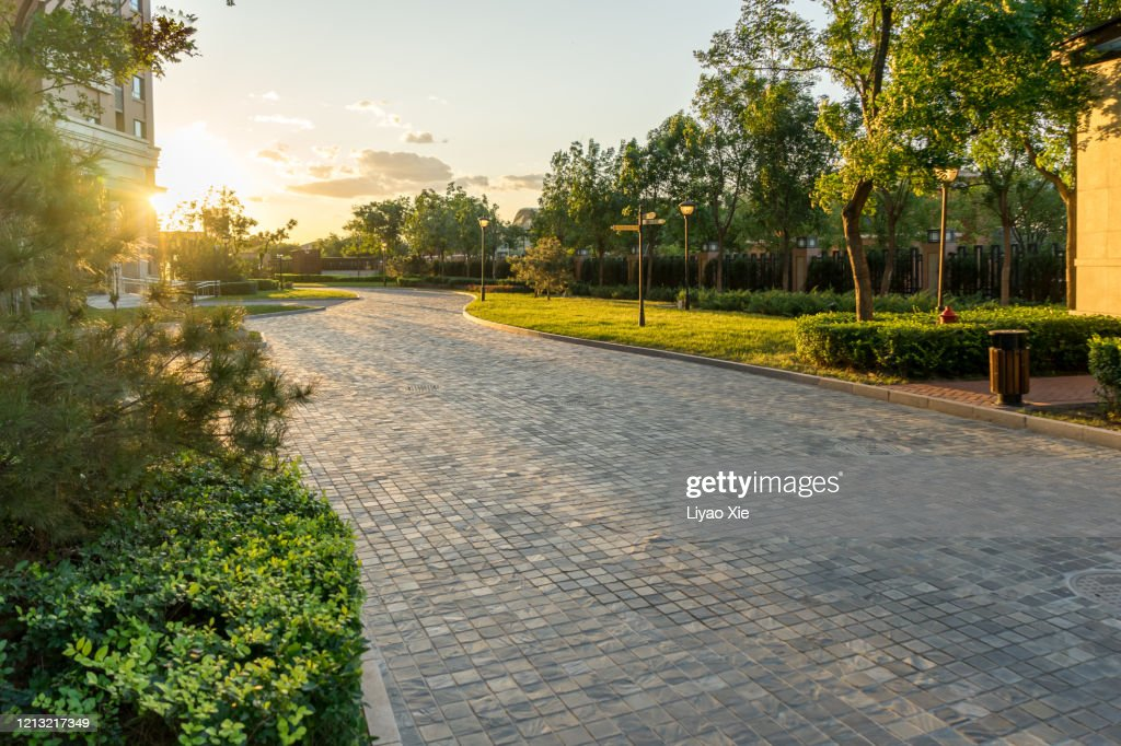 Sunset in residential district : Stock Photo