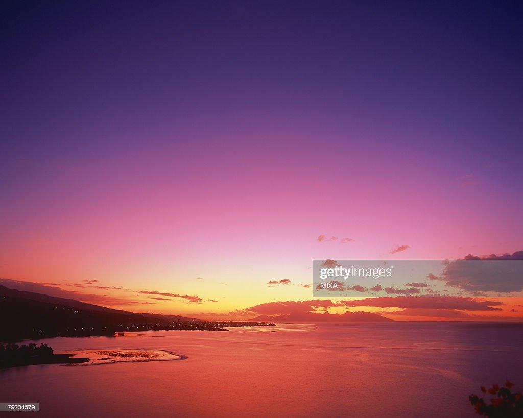 Sunset in Tahiti : Stock Photo