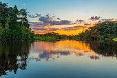Sunset in the Amazon Rainforest River Basin