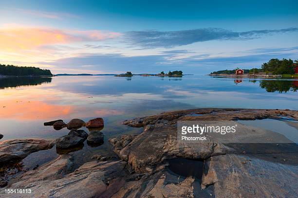 sunset in the archipelago - stockholm stock pictures, royalty-free photos & images