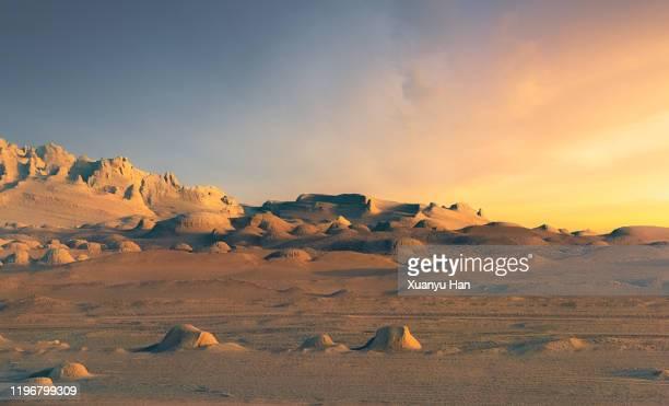 sunset in the arid landscape of qinghai province - 荒野 ストックフォトと画像