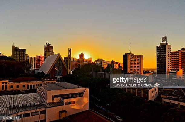 sunset in the city center of Londrina