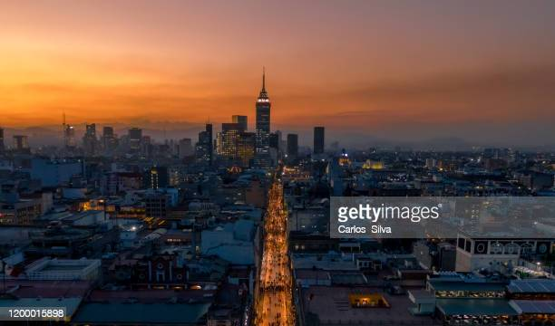 sunset in the historic center of mexico city - mexico city stock pictures, royalty-free photos & images