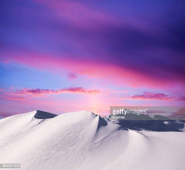 sunset in the mountains - lilac stock photos and pictures