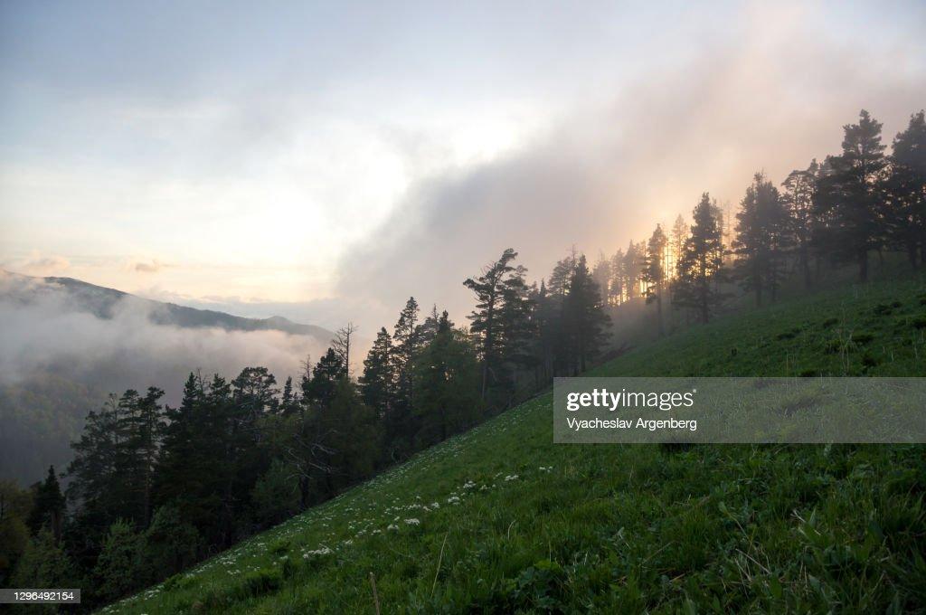 Sunset in the mountains, Shisha Valley, Adygea, Caucasus : Stock Photo