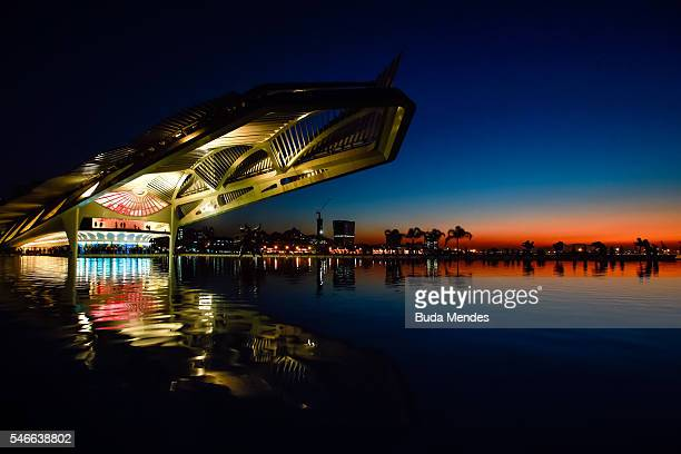 A sunset in the Museum of Tomorrow during the launching of the Official Collection of Rio 2016 Posters on July 12 2016 in Rio de Janeiro Brazil