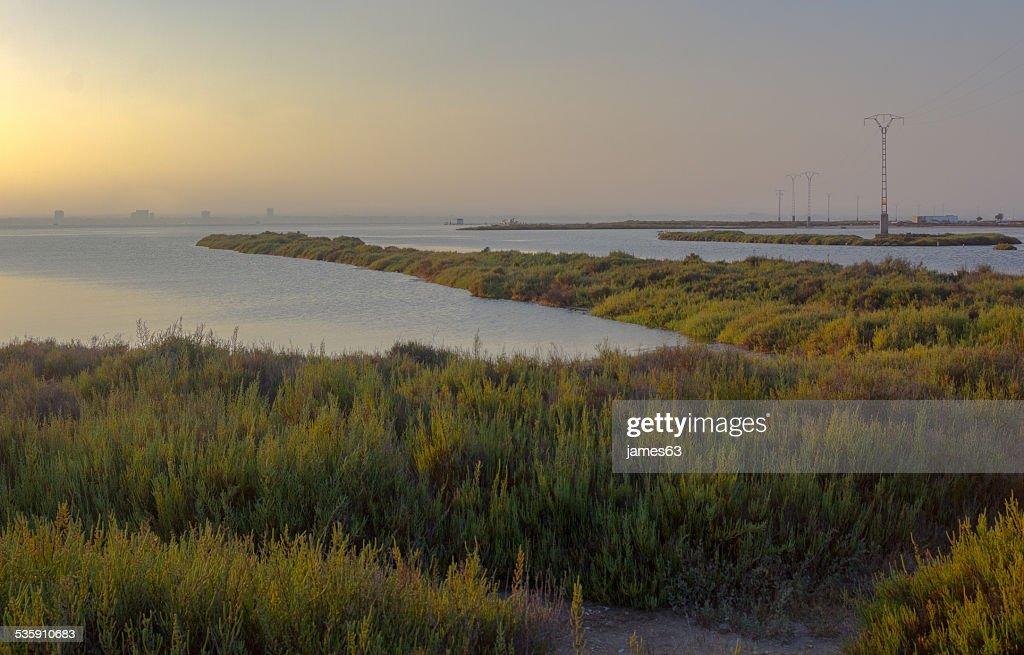 Puesta de sol en la reserva natural de San Javier, España : Foto de stock