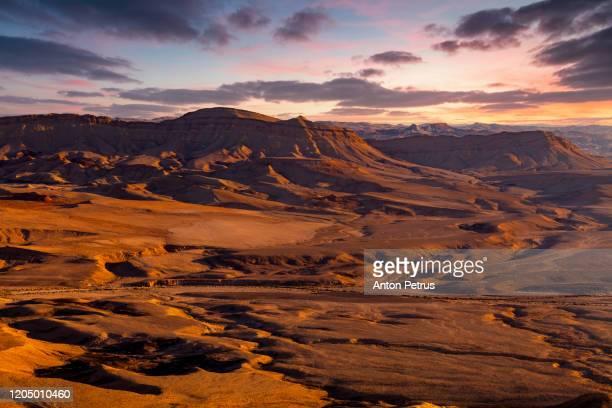 sunset in the negev desert. makhtesh ramon crater. israel - 砂岩 ストックフォトと画像