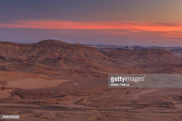 Sunset in the Negev desert. Ramon Crater