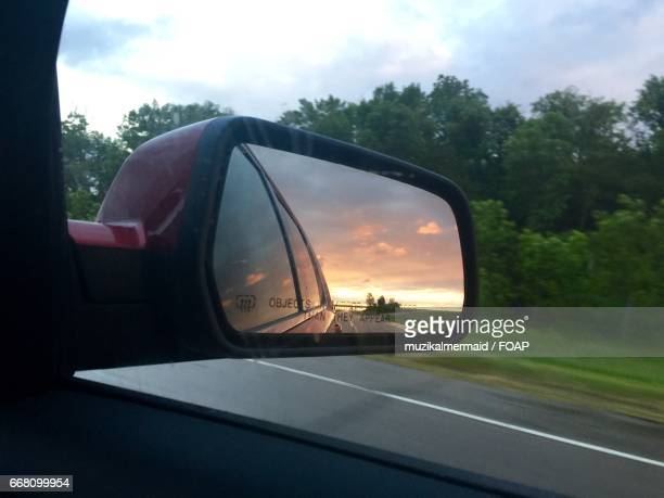 Sunset in the rear view mirror