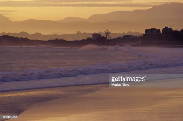 Sunset in the Sardinero Santander Cantabria Sunset in the beach one of the most famous and tourist of the city