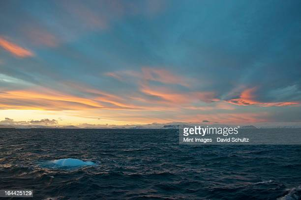 sunset in the weddell sea. - weddell sea stock photos and pictures