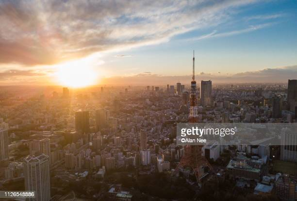 sunset in tokyo - nee nee stock pictures, royalty-free photos & images