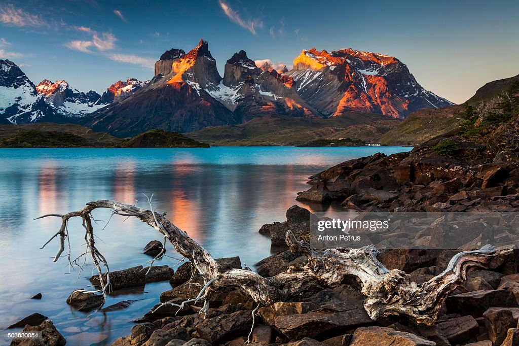 Sunset in Torres del Paine National Park,  Chile : Stock Photo