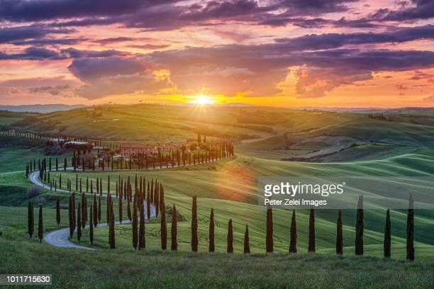 sunset in tuscany - village stock pictures, royalty-free photos & images