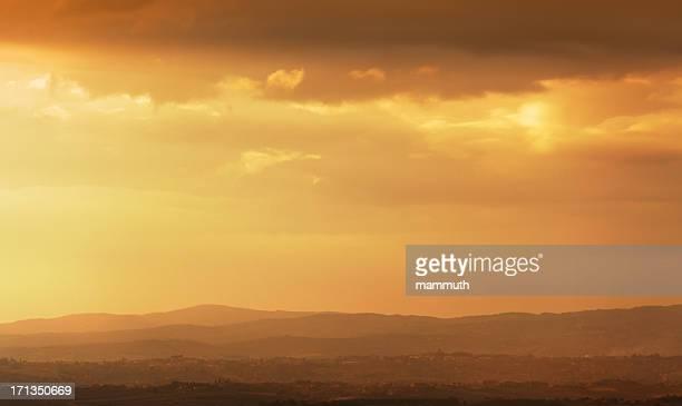 Coucher de soleil en Toscane