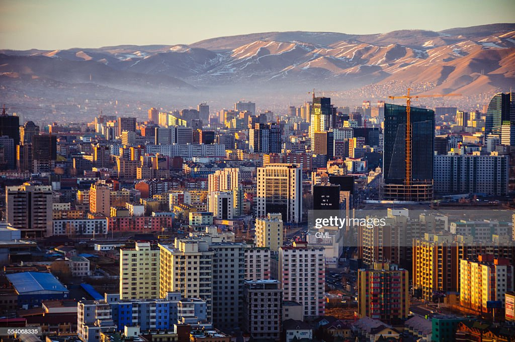During winter time Ulaanbaatar city caught up with smoke from burnt coal.