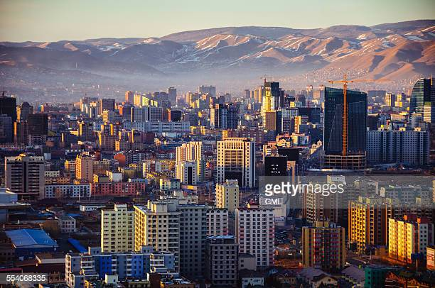 sunset in ulaanbaatar city - independent mongolia stock pictures, royalty-free photos & images
