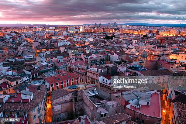 sunset in valencia from miguelete - valencia spain stock pictures, royalty-free photos & images