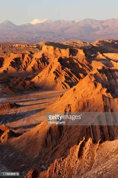 Sunset in valley of the moon in the Atacama desert