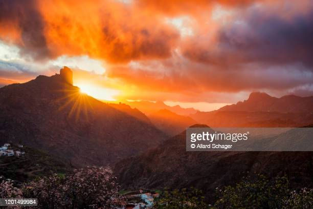 sunset in village of tejeda gran canaria spain - tejeda canary islands stock pictures, royalty-free photos & images
