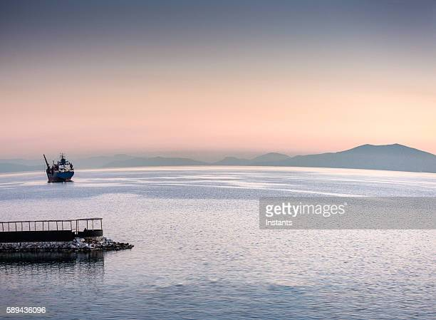 sunset in volos greece - thessaly stock pictures, royalty-free photos & images