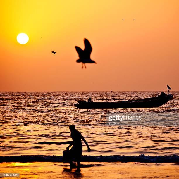 sunset in west african beach - gambia stock photos and pictures